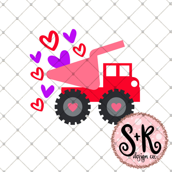 Valentines Day Dump Truck SVG DXF PNG
