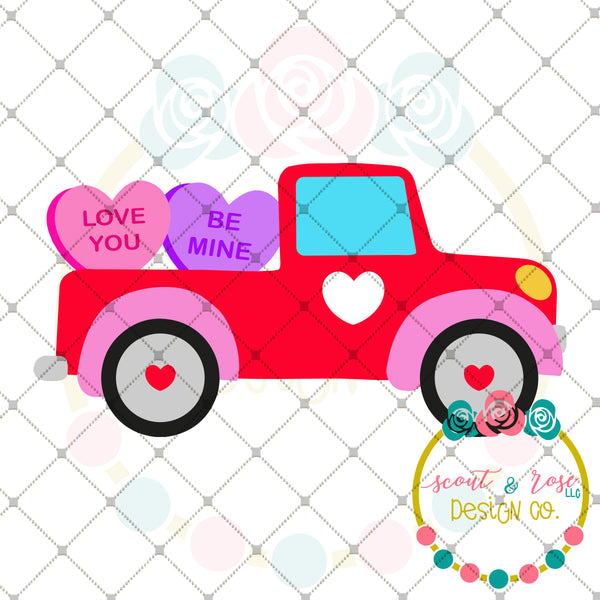 Conversation Heart Truck SVG DXF PNG