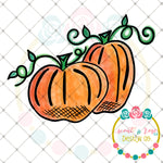 Watercolor Pumpkins Sublimation Design