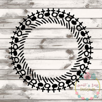 Hand Drawn Monogram Frame SVG DXF PNG