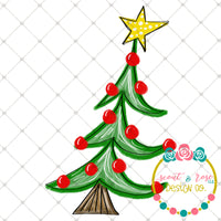 Hand Painted Whimsical Christmas Tree PNG Printable Design