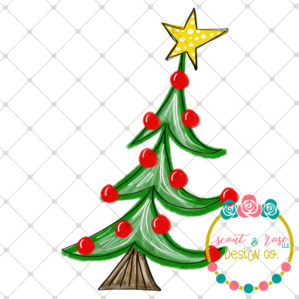 Hand Painted Whimsical Christmas Tree PNG Sublimation Design