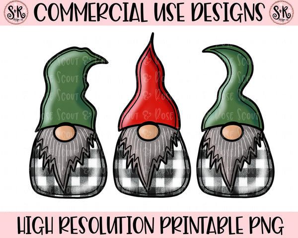 White Buffalo Plaid Gnomes Printable Design (2019)