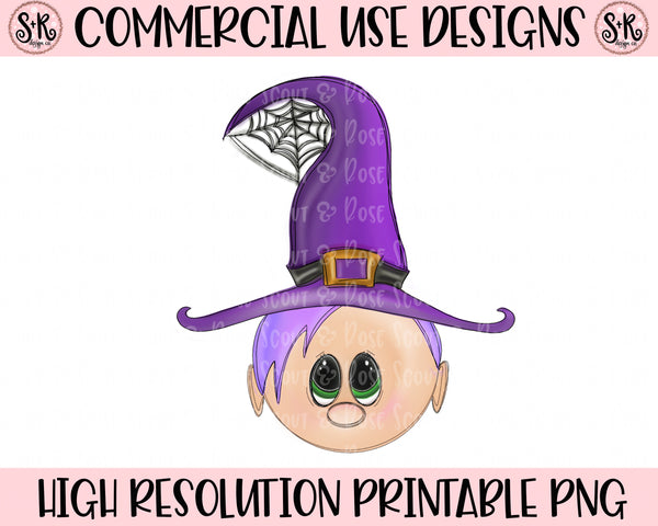 Cutie Witch Purple Hair Printable Design (2019)