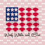 Woof White and Blue Stars Cut File