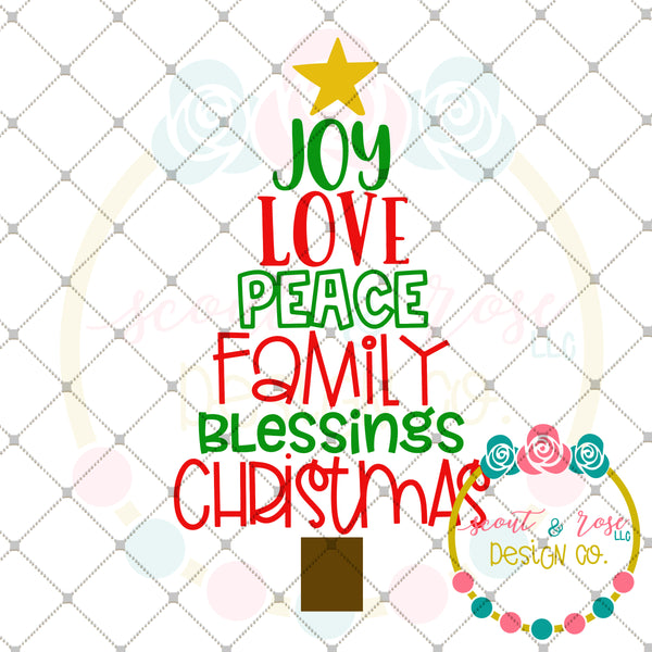 Love Family Blessings Christmas Tree SVG DXF PNG