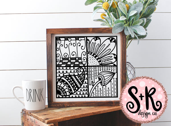 Hand Drawn Zentangle Block SVG DXF PNG (2019)