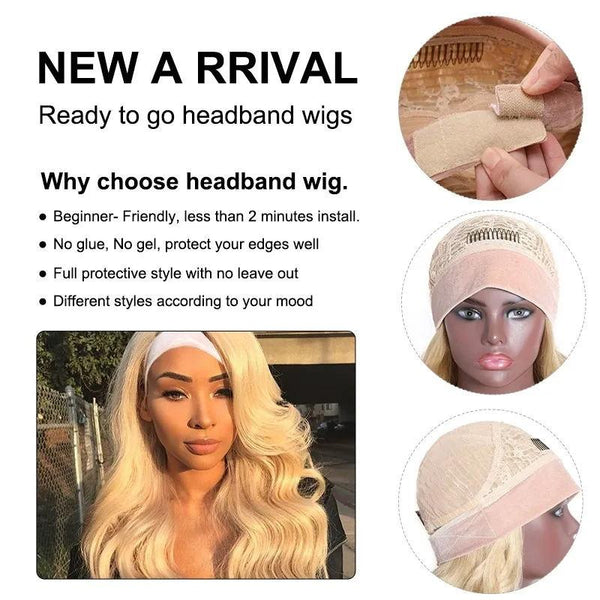 613 Blonde Color Glueless Natural Wave Headband Wigs