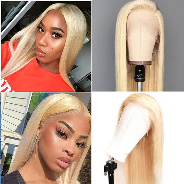 613 Blonde Silky Straight Lace Front Human Hair Wig
