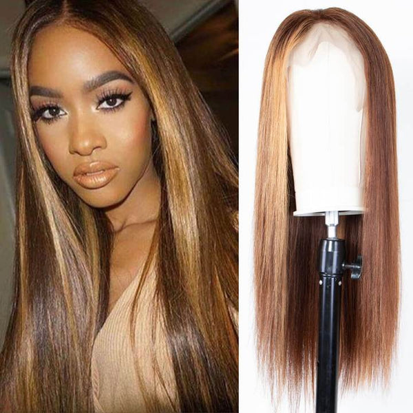 9A Honey Blonde Color Straight Hair Lace Front Wigs
