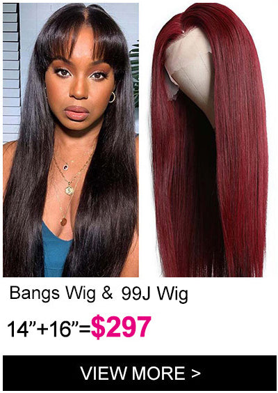 Klaiyi Brand Day flash sale transparent lace front wig with bangs dark 99j 13 4 hd lace front wig