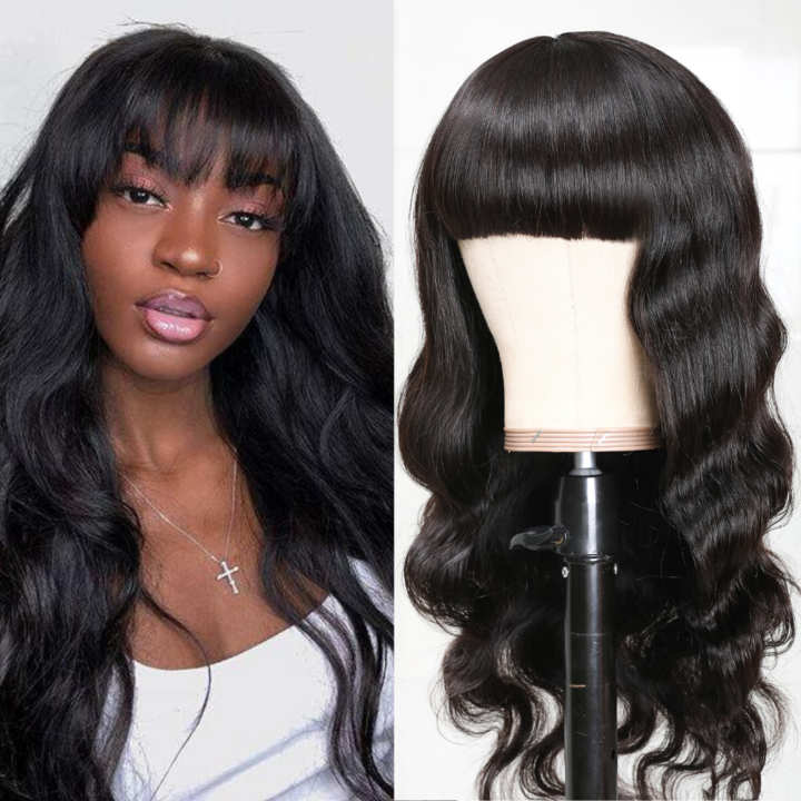 Brazilian Body Wave Human Hair Wig With Free Part Bangs Machine Made Gluless Breathable Wig