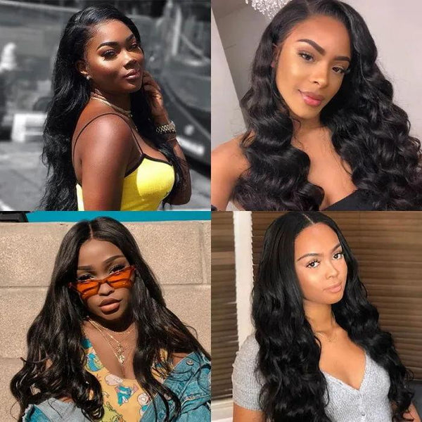 Body Wave Natural Black Hair Lace Part Wig