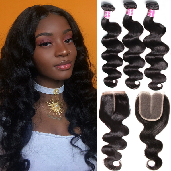 Brazilian Body Wave Hair 3 Bundles With Closure That Uses Afterpay