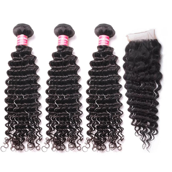 Brazilian Deep Wave 3 Bundles with 4*4 Lace Closure