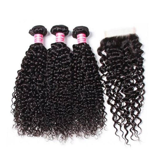 Klaiyi Brazilian Virgin Curly Hair 3 Bundles With 4*4 Lace Closure