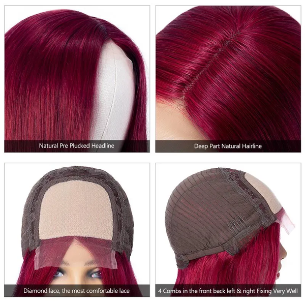 Burgundy Color Straight Hair lace closure wig Seller show