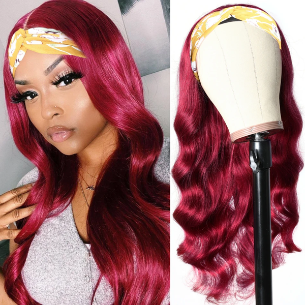 Burgundy Color Glueless Body Wave Headband Wigs