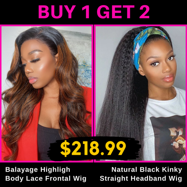 #FB30 Lace Front Wig & Headband Kinky Straight Wig Get Free Wigs