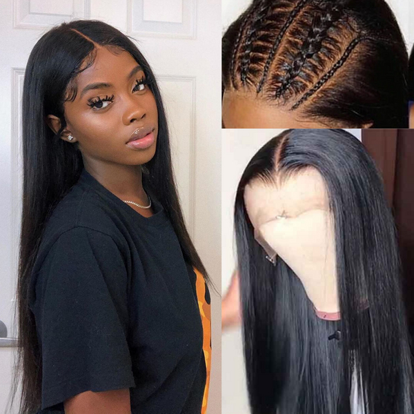Fake Scalp Brazilian Straight Lace Wig