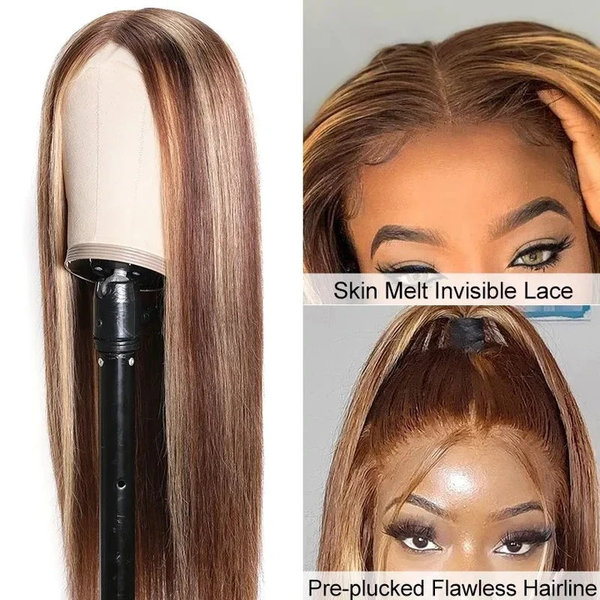 Honey Blonde Highlight Color Straight Hair 44 Fake Scalp Wigs