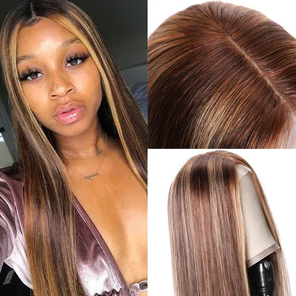 Honey Blonde Highlight Color Straight Hair 44 lace closure Wigs