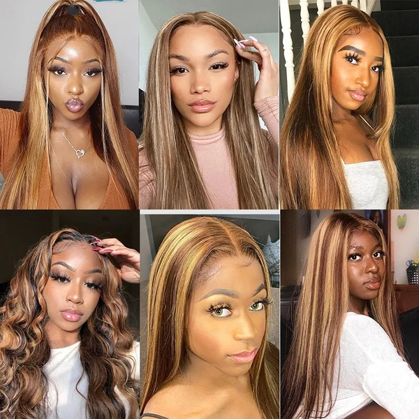 Honey Blonde Highlight Color Straight Hair Lace Part Wigs