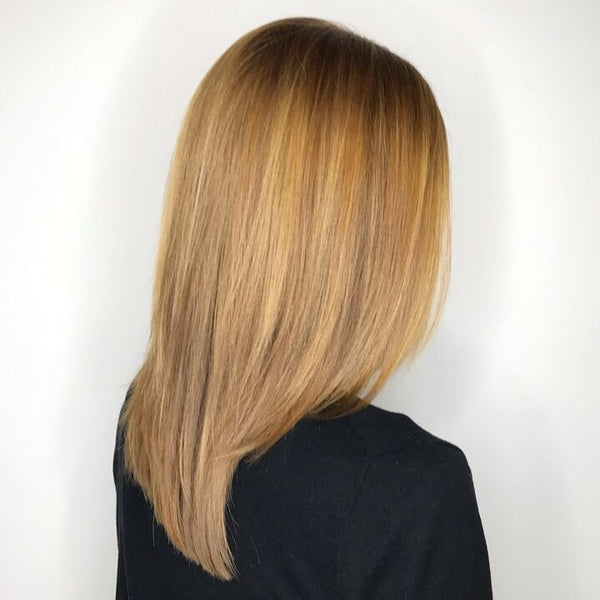 Honey hair color with blonde highlights wig
