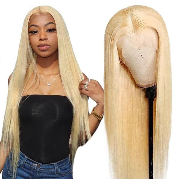 Klaiyi 13×4 Honey Blonde 613 Color Human Hair Wigs Silky Straight Lace Frontal Wigs Pre-plucked Babyhair