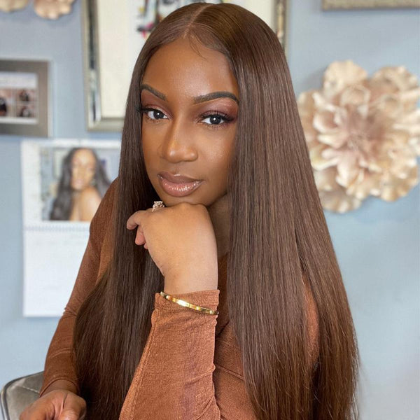 Klaiyi #4 Chestnut Brown Color Glueless Straight Human Hair Wigs Pre Plucked Lace Part Wig