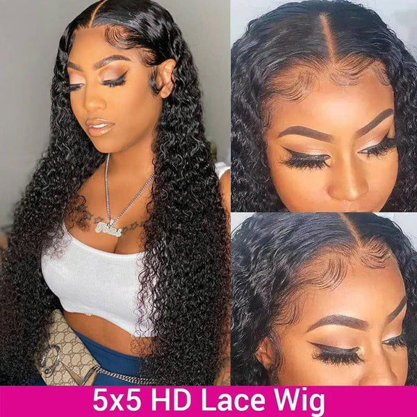 Klaiyi 5x5 HD Lace Closure Wigs Pre Plucked Jerry Curly Hair Invisible Lace Closure 100% Human Hair Wigs 180% Density