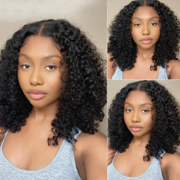 Klaiyi Best 13x4 Transparent Lace Frontal Wigs Jerry Curly Human Hair Wigs From 130% to 180% Density