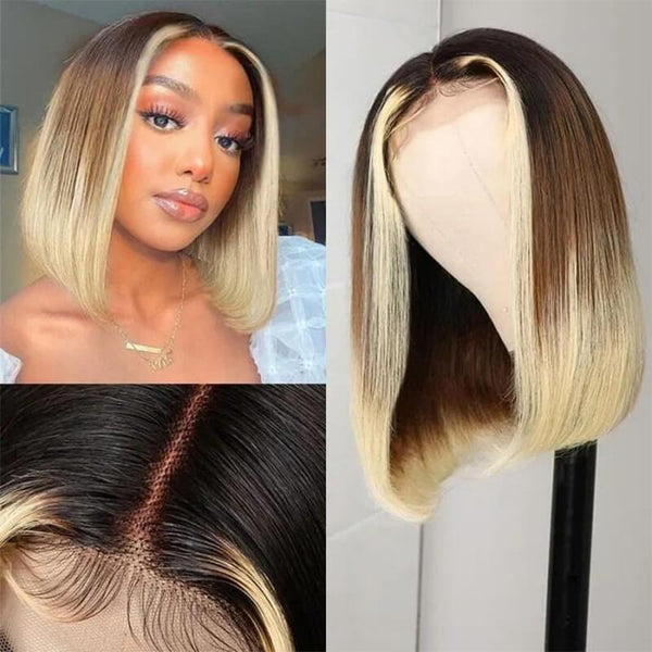 Klaiyi Dark Roots Ombre Color Short Bob Wigs 4x4 Hand Tied Lace Part Human Hair Wigs For Summer