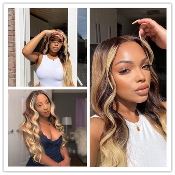 Klaiyi Face Framing Highlight Ombre Blonde Loose Wave Lace Part Human Hair Wigs 150% Density