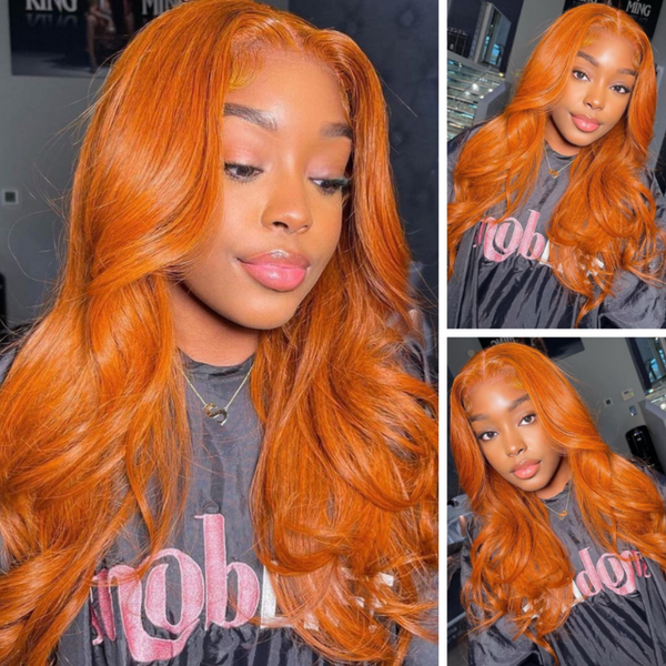 Klaiyi Ginger Orange Colored Body Wave Lace Part Wig Human Hair Fall Color Wigs Pre Plucked With Baby Hair