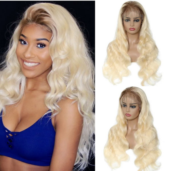 Klaiyi Hair 10A Brown Roots Blonde Lace Front Wigs 13×4 Frontal Human Hair T4613 Wigs 150% Density