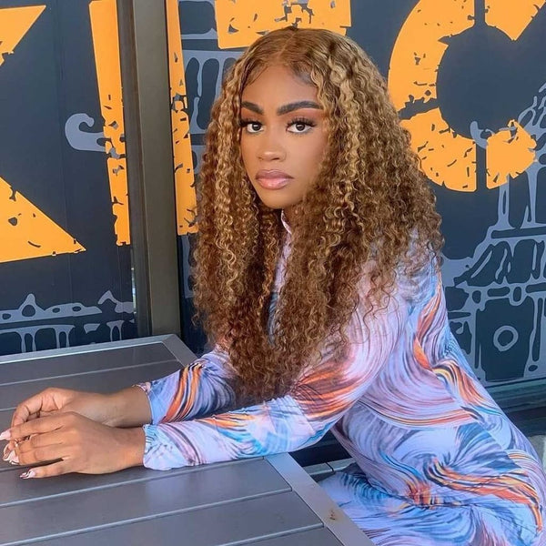 Klaiyi Honey Blonde Highlight Pre Plucked 13x4 Lace Front Wigs Long Curly  Customer Review