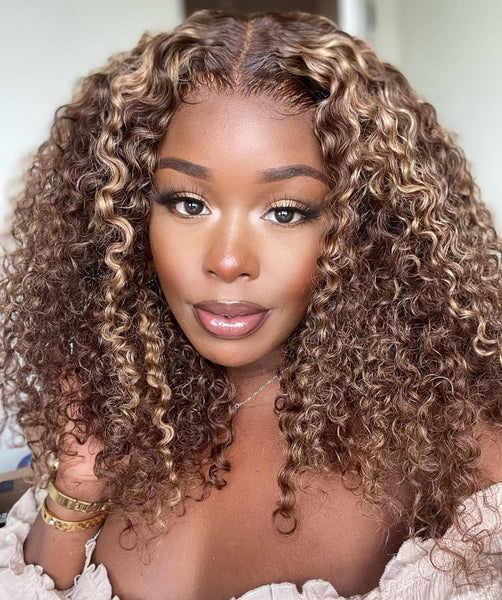 Klaiyi Honey Blonde Highlight Pre Plucked 13x4 Lace Front Wigs Long Curly Human Hair Wigs 180% Density