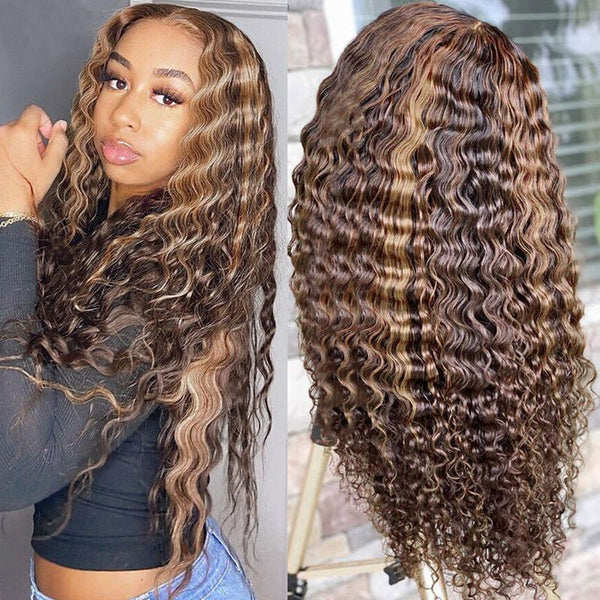 Klaiyi Honey Blonde Highlight Pre Plucked 13x4 Lace Front Wigs Ombre Color Jerry Curly Human Hair Wigs 180% Density