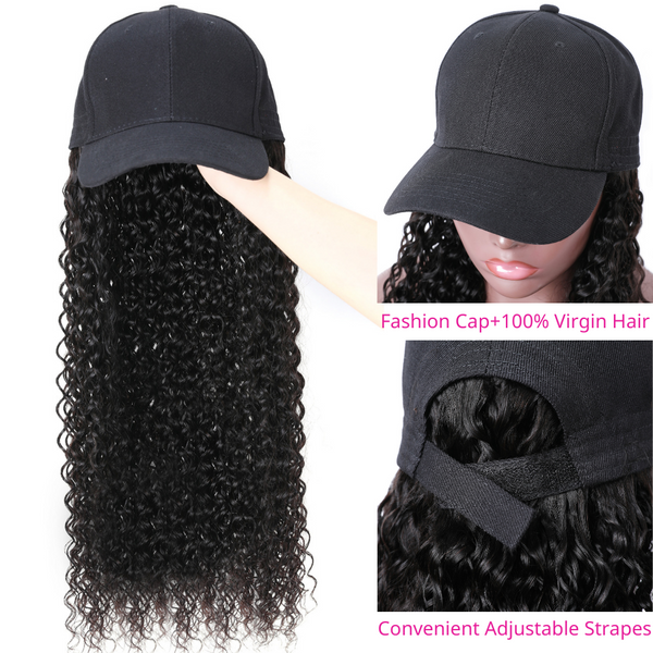 Klaiyi Jerry Curly Hair Hat Wigs