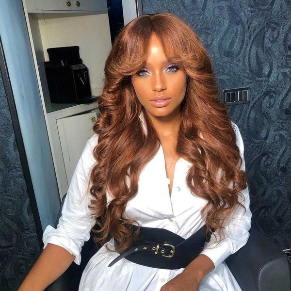Klaiyi Voluminous Bouncy Curls Lace Front Loose Wave Wigs Chestnut Brown Highlight Fall Color Wigs 180% Density