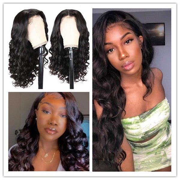 Klaiyi Wand Curls Bouncy Body Wave 13x4 Swiss Lace Front Wigs 100% Human Hair Wigs Blanched Knots