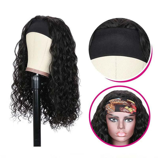 Klaiyi Youth Series Water Wave Headband Wig With Pre-attached Scarf