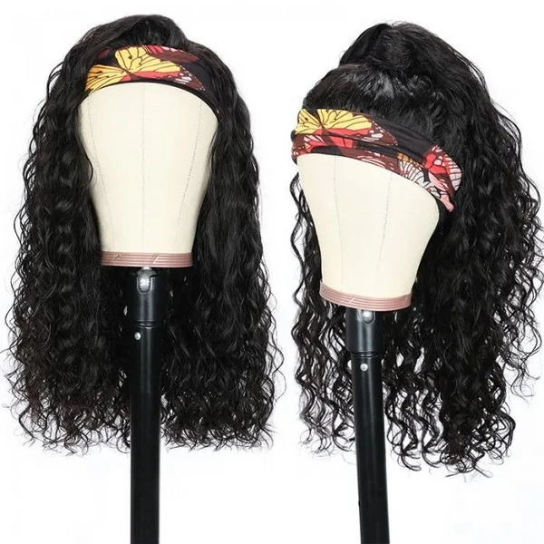 Klaiyi natural color Headband Water Wave Wig With Pre-attached Scarf
