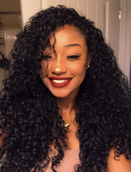 Pre-plucked curly lace front wigs