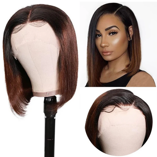 Preplucked T1b27 Ombre Color Brazilian Straight Short Bob Wigs