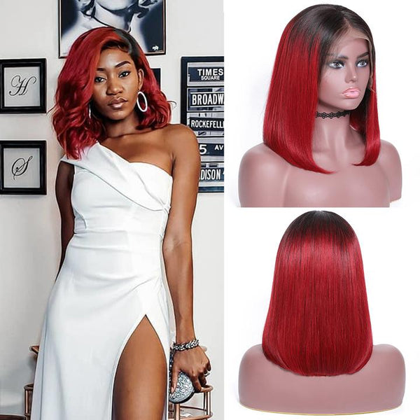 Red Color straight hair bob wig
