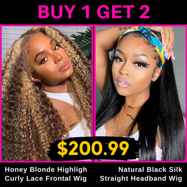#TL412 Lace Front Wig & Headband Straight Wig Buy one get one free
