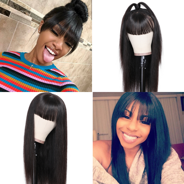 Transparent Lace Brazilian Straight Hair Wig With Bangs