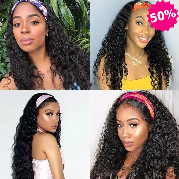 Water Wave Headband Wigs With Pre-attached Scarf